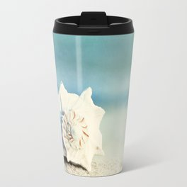 "Seashell on Beach Photography, ""Paradise"" Travel Mug"