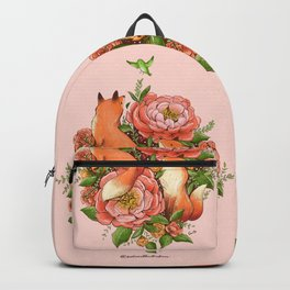 The Red Foxes and Coral Sunset Peonies Backpack