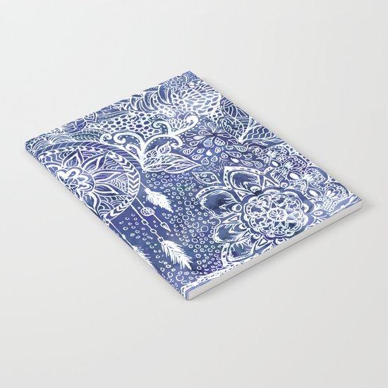 Boho blue dreamcatcher feathers floral illustration Notebook