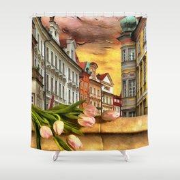Looking Out At Prague by Liane Wright Shower Curtain