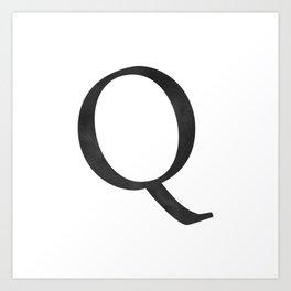 Letter Q Initial Monogram Black and White Art Print