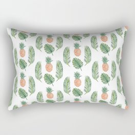 PINEAPPLES AND LEAVES WHITE Rectangular Pillow