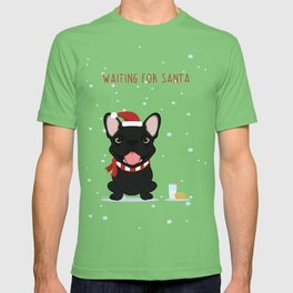 French Bulldog Waiting for Santa - Black / Brindle Edition T-shirt