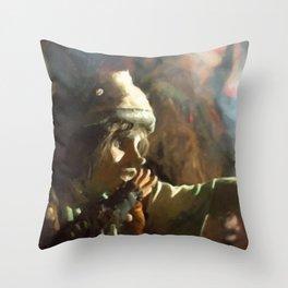 The little beggar Throw Pillow