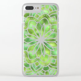 Mandala Green Leaves Clear iPhone Case
