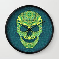 sugar skull Wall Clocks featuring Sugar skull by Julia Badeeva