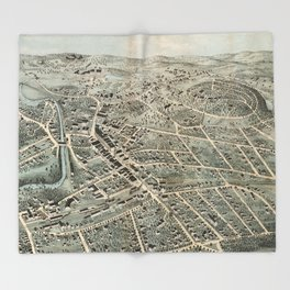 Vintage Pictorial Map of Northampton MA (1875) Throw Blanket