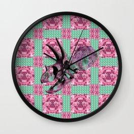 Pink and Green Dinosaur Skull Pattern Quilt Wall Clock