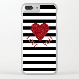 LOVE YOU Valentine print. Red glitter heart and black stripes congratulation card Clear iPhone Case