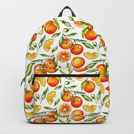 orange pattern tangerine citrus print Backpack