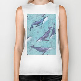 Big space whales pattern Biker Tank
