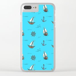 Happy Sailing Pattern with blue background Clear iPhone Case