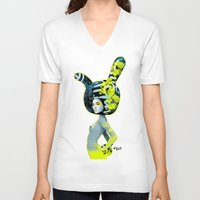bunny V-neck T-shirts featuring bunny by el brujo