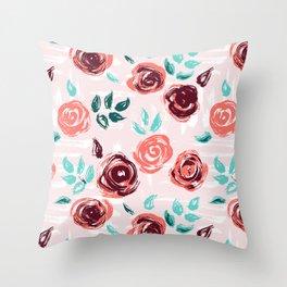Brushstroke Roses Throw Pillow