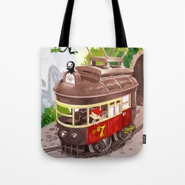 Travel By Trolly Tote Bag