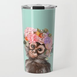 Baby Monkey with Flower Crown Travel Mug