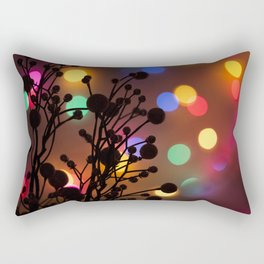 Holly Berries and Christmas Lights Rectangular Pillow