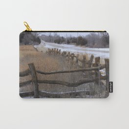 Kansas Wintery Wooden Fence Carry-All Pouch