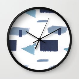 White and blue art print Wall Clock