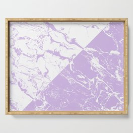 modern color block inverted white purple lavender marble pattern Serving Tray