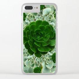 JADE & DARK GREEN SUCCULENT ROSETTES GARDEN Clear iPhone Case