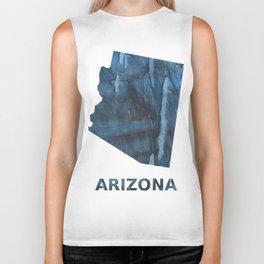 Arizona map outline Dark Gray Blue clouded watercolor pattern Biker Tank