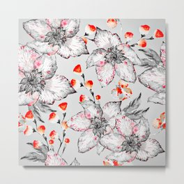Red And Grey Floral Pattern Metal Print