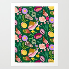 Shells & Flowers Pattern Art Print
