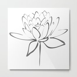 Lotus Blossom Calligraphy Smoke Grey Metal Print