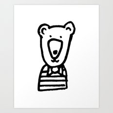 Monochrome bear nursery art Art Print