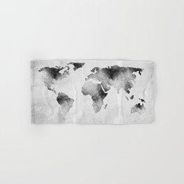 World Map - Hammered Metallic Monochrome Hand & Bath Towel
