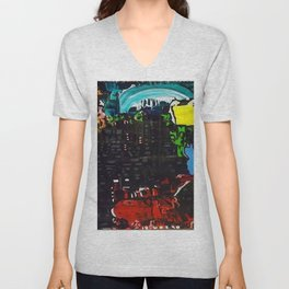 A colorful abstract piece in acrylic Unisex V-Neck