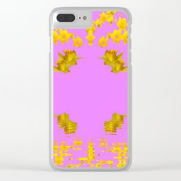 DECORATIVE MODERN PINK-DAFFODILS ART FLORAL Clear iPhone Case