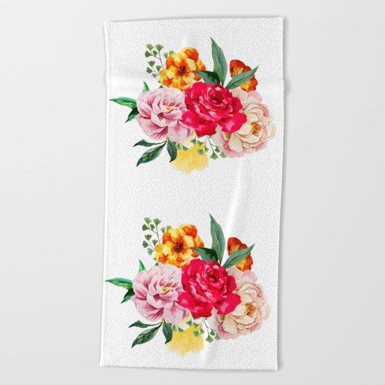 Watercolor Spring Flowers Beach Towel