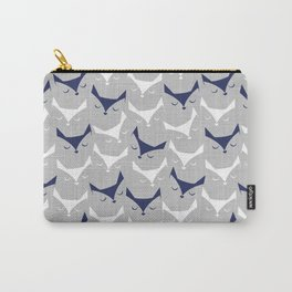 Cat alert // grey linen texture background Carry-All Pouch