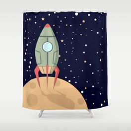 A retro rocket Shower Curtain