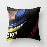 senna Throw Pillows featuring Senna Helmet Portrait by Borja Sanz
