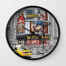 Daffys New York City Yellow Cab original sketch Wall Clock