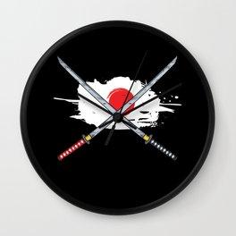 Japanese Flag Sword Japan Katana Kendo Samurai Gift Wall Clock