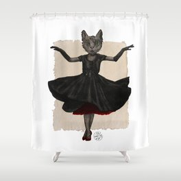 Twirling, Twirling, Couture Kitty Shower Curtain
