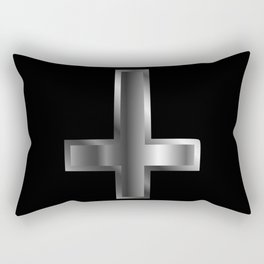 An inverted cross- The Cross of Saint Peter used as an anti-Christian and Satanist symbol. Rectangular Pillow