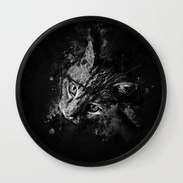 scary lurking cat from right splatter watercolor black white Wall Clock