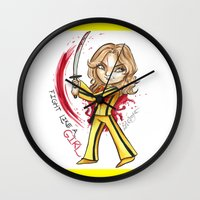 kill bill Wall Clocks featuring Kill Bill - The Bride by Lyxy