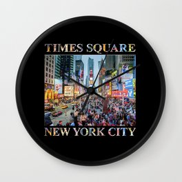 Time Square Tourists (on black) Wall Clock