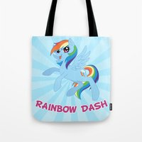 mlp Tote Bags featuring MLP FiM: Rainbow Dash by Yiji