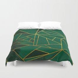 Emerald Green Geometric Gold Lines Duvet Cover