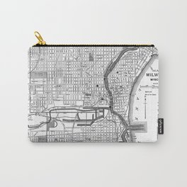 Vintage Map of Milwaukee Wisconsin (1891) BW Carry-All Pouch