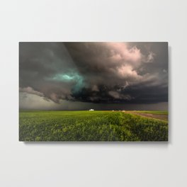 May Thunderstorm - Twisting Storm Over House in Colorado Metal Print