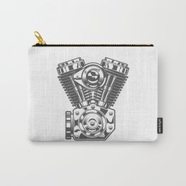 Vintage motorcycle engine in design fashion modern monochrome style illustration Carry-All Pouch