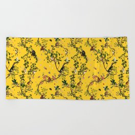Monkey World Yellow Beach Towel